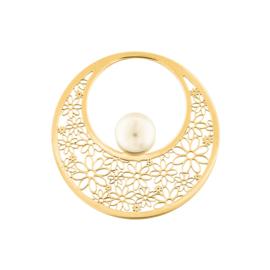 Decoratieve Goudkleurige Bloem Munt met Zoetwaterparel van MY iMenso