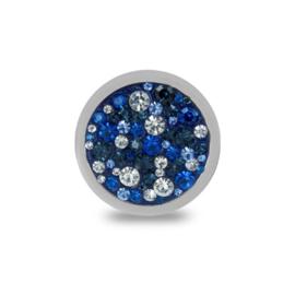 LOCKits Zilverkleurige Munt met Witte en Blauwe Zirkonia's 25mm