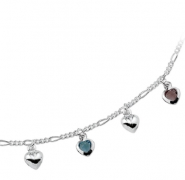 Zilveren Figaro Collier met Zirkonia Hart Hangers