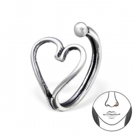 Zilveren Hart Fake Neusring