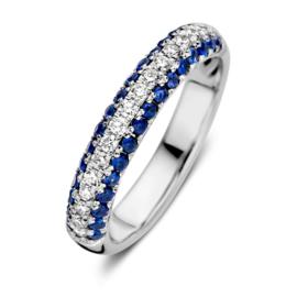 Excellent Jewelry Witgouden Ring met Briljanten en Saffieren Rand