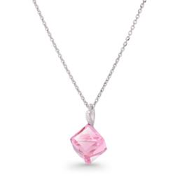 Roze Kubus Glaskristallen Ketting van Spark Jewelry