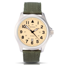 Sekonda Heren Horloge met Groene Canvas Horlogeband