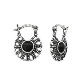 Geoxideerd Zilveren Bali Oorbellen met Zwarte Onyx