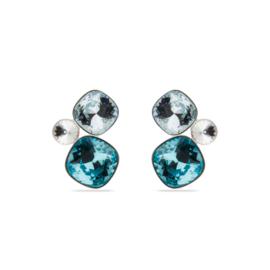 Zilveren Paraiso Oorbellen met Helderblauwe Swarovski Kristallen van Spark