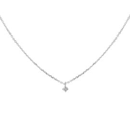 Witgouden Anker Collier met Beeldschone Diamant 0.05 ct Hanger