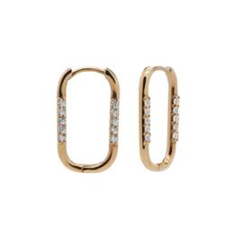 Rosé Ovalen Oorringen met Vijf Zirkonia's | Karma Jewelry