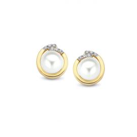 Excellent Jewelry Geelgouden Parel Oorstekers met Zirkonia's