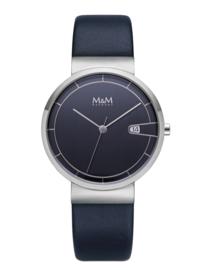M&M Horloge met Zilverkleurige Coating en Blauw Lederen Horlogeband