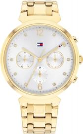 Tommy Hilfiger Goudkleurig Dames Horloge met Zirkonia's