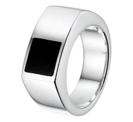 Zilveren Heren Ring met Rechthoekige Voorkant en Onyx