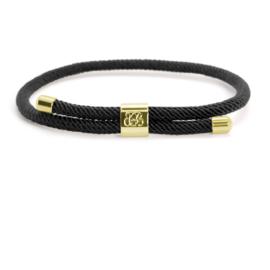 Blaauw Bloed Majestic Heren Armband – Zwart met Goudkleur