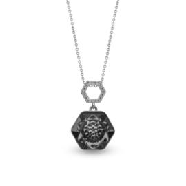 Favo Ketting met Zwart Zeshoekige Glaskristal Hanger