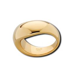 Slanke Goudkleurige Organische Ring van Edelstaal van M&M