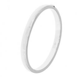 Smalle Zilveren Bangle armband met Bolle Buis