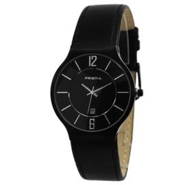 Design Edelstaal Zwart Prisma Horloge met Zwart Horlogeband