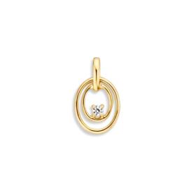 Excellent Jewelry Opengewerkte Ovaalvormige Hanger met Zirkonia