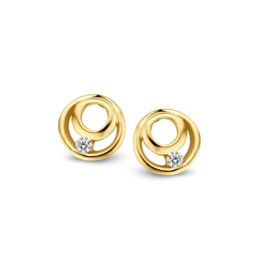 Excellent Jewelry Geelgouden Ronde Oorstekers met Zirkonia