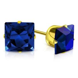 Goudkleurige Oorknoppen met Zeeblauwe Zirkonia