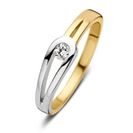 Excellent Jewelry Gouden Ring met Witgouden Lus en Kleurloze Zirkonia