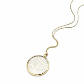 Gouden 33mm Medaillon met White Laser Sun Insignia en Ketting van MY iMenso Gold