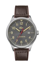 Lacoste Zilverkleurig Continental Heren Horloge met Bruin Horlogeband