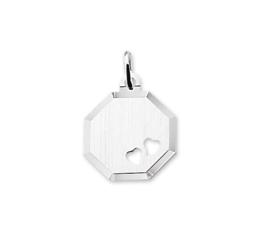 Achthoekige Zilveren Graveer-hanger met Hartjes 10.05933
