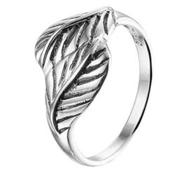 Geoxideerd Zilveren Ring met Gedetailleerde Blad Uiteinden