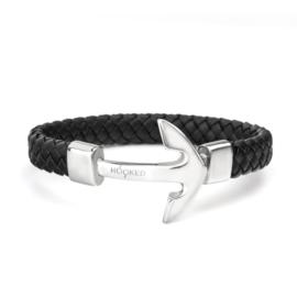 Robuuste Armband van Gevlochten Zwart Leder met Edelstalen Anker