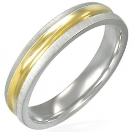 Ring met goudkleurige band - Graveer Ring SKU20787