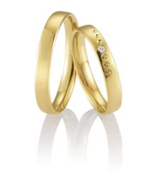 Breuning Gouden Prende Trouwringen Set met Diamant