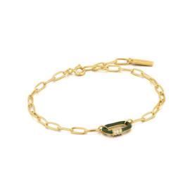 Ania Haie Bright Future Goudkleurige Armband met Groene Schakel