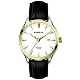 Prisma Zilver- met Goudkleurig Balm Heren Horloge