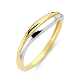 Excellent Jewelry Slanke Bicolor Dames Ring met Witgouden Strook