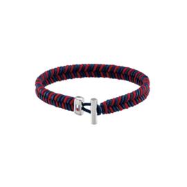 Tommy Hilfiger Heren Omwikkelde Armband van Blauw met Rood Textiel