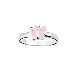 Zilveren Vlakke Ring voor Kinderen met Roze Vlinder