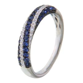 Excellent Jewelry Witgouden Ring met Gedraaide Saffier Strook