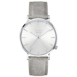 Zilverkleurig KANE Horloge met Grijze Lederen Horlogeband
