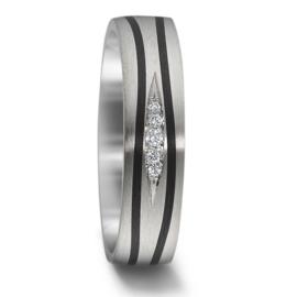 Stijlvolle Zilveren Dames Trouwring met Carbon Stroken en Diamanten