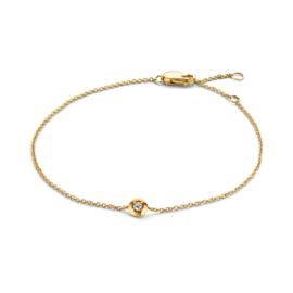 Excellent Jewelry Geelgouden Schakel Armband met 0,03 crt. Briljant
