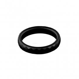 Zwarte Facetgeslepen Ring van Keramiek van MY iMenso / Maat 7,0 (54)