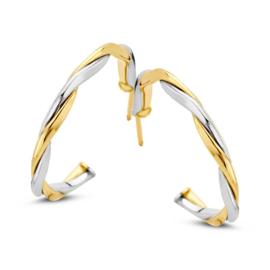 Excellent Jewelry Slanke Gedraaide Bicolor Oorstekers