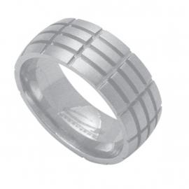 Reliëf Rechthoeken Ring van C MY STEEL - Graveer Ring