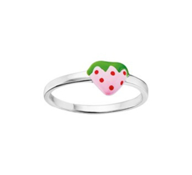 Zilveren Ring voor Kinderen met Gekleurde Aardbei