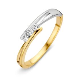 Excellent Jewelry Slanke Gouden Ring met Witgouden Uiteinde en Zirkonia's