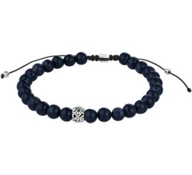 Zwarte Koord Armband met Blauwe Tijgeroog Kralen
