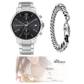 Heren Horloge Tommy Hilfiger + Zilverkleurige Schakel Armband + Cadeaubon t.w.v. € 75,00 | Gift Set
