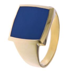 Excellent Jewelry Geelgouden Heren Ring met Blauwe Lagensteen