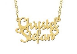 Names4ever Vergulde Christel-Stefan Naamketting