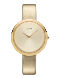 Goudkleurig M&M Dames Horloge met Goudkleurige Lederen Horlogeband